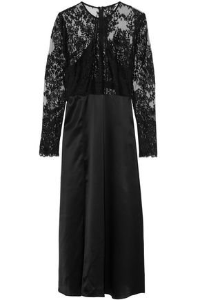 MICHELLE MASON Lace-paneled silk-satin midi dress