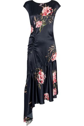 SACHIN & BABI Huma asymmetric floral-print silk-satin midi dress