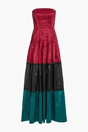 SACHIN & BABI Delhi strapless pleated color-block silk-taffeta gown