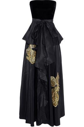 SACHIN & BABI Correra strapless velvet-paneled embroidered taffeta gown