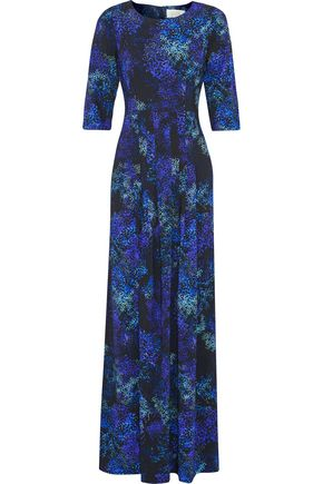 GOAT Pleated printed crepe maxi dress