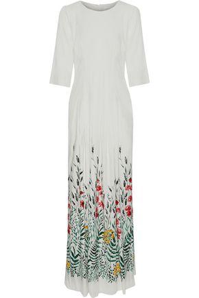 GOAT Pleated floral-print crepe maxi dress