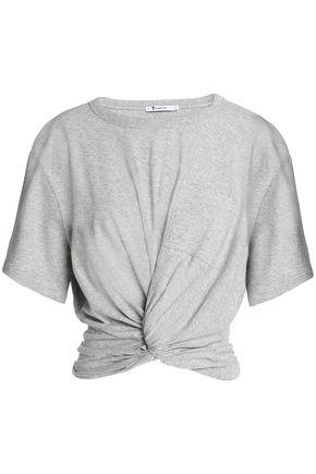 T by ALEXANDER WANG Twist-front mélange cotton-jersey T-shirt