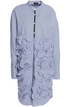 RAOUL Striped ruffled cotton-poplin shirt dress