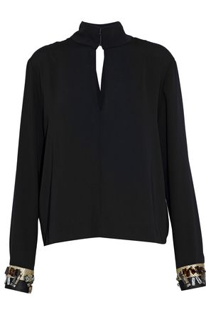 BY MALENE BIRGER Wrap-effect embellished crepe blouse