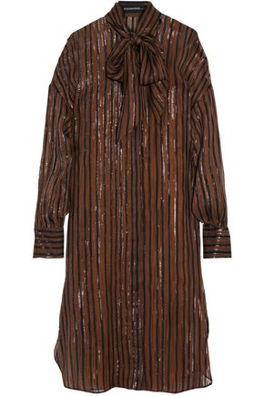 BY MALENE BIRGER Metallic fil coupé silk-blend chiffon shirt dress