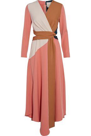 ROKSANDA Gabriela wrap-effect cutout color-block cady midi dress
