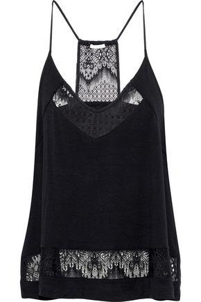 SKIN Lace-paneled stretch-jersey camisole