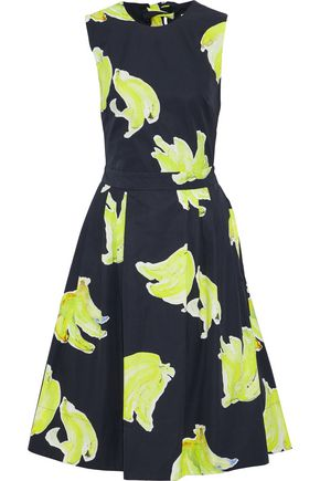 MSGM Tie-back printed cotton-poplin dress