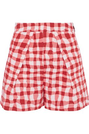 MSGM Pleated gingham cotton-faille shorts