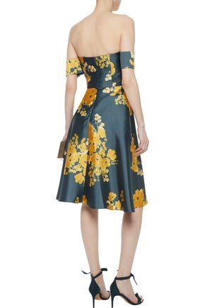 SACHIN & BABI Vezee off-the-shoulder floral-print duchesse satin-twill dress