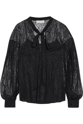 Sachin & Babi Woman Sahib Pussy-bow Chantilly Lace Blouse Black Size 14 Sachin & Babi Really For Nice Free Shipping For Nice Cheap Sale Pick A Best 6AG8lUNcqP