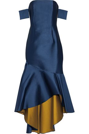 SACHIN & BABI Walia off-the-shoulder fluted duchesse-satin gown