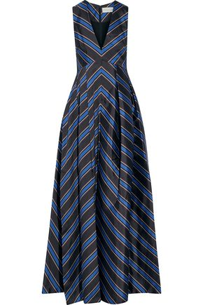 Sachin & Babi Woman Amrita Pleated Striped Satin-twill Gown Navy Size 14 Sachin & Babi XOdjwYx3