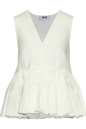 MSGM Pleated stretch cotton-poplin peplum top