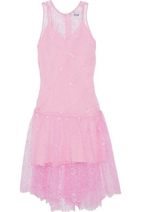 MSGM Pleated Chantilly lace dress