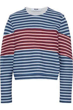 MSGM Striped cotton-blend jersey sweatshirt