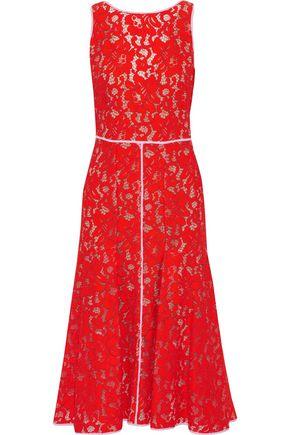 MSGM Pleated guipure lace midi dress