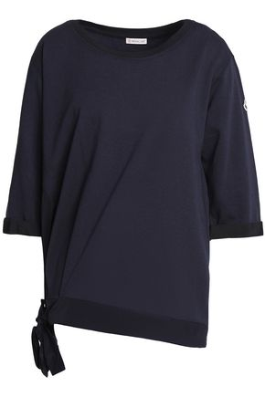 MONCLER Satin-trimmed gathered cotton-terry sweatshirt