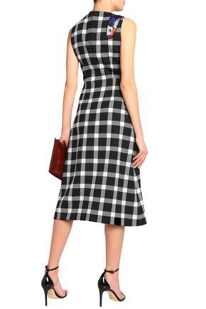Christopher Kane Woman Cutout Printed Wool-blend Midi Dress Black Size 10 Christopher Kane x9P7tzv9tR