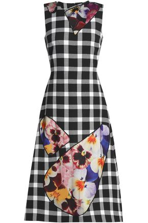 CHRISTOPHER KANE Floral-print cutout gingham wool-blend midi dress