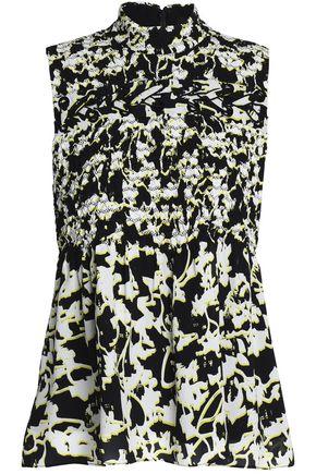 PROENZA SCHOULER Smocked floral-print silk-georgette top