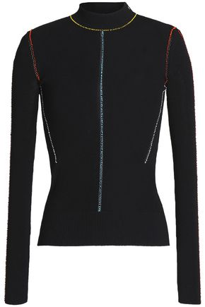 CHRISTOPHER KANE Bead-embellished ribbed-knit top