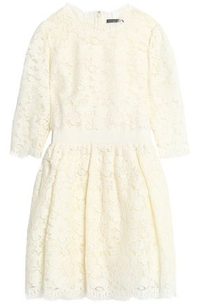 ALEXANDER MCQUEEN Pleated corded lace cotton-blend mini dress