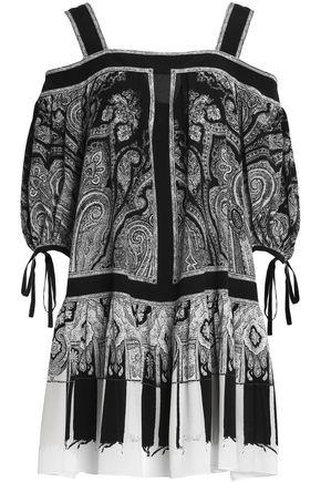 ALEXANDER MCQUEEN Cold-shoulder printed silk-chiffon mini dress