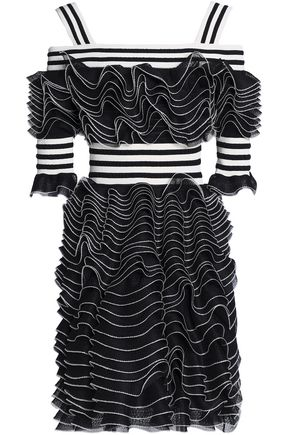 ALEXANDER MCQUEEN Cold-shoulder ruffled open and pointelle-knit mini dress
