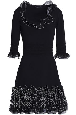 ALEXANDER MCQUEEN Ruffled open-knit and ponte mini dress