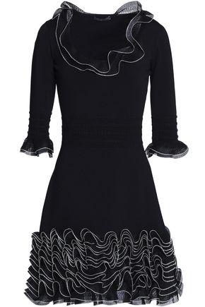 ALEXANDER MCQUEEN Ruffled open-knit and ponte mini dress