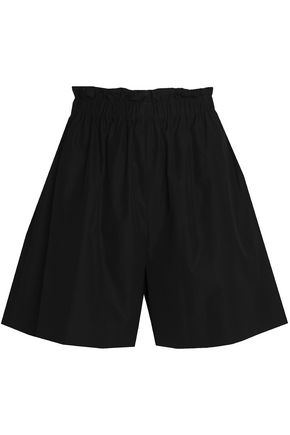 FENDI Gathered cotton-poplin shorts