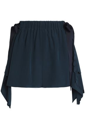 FENDI Draped silk crepe de chine mini skirt
