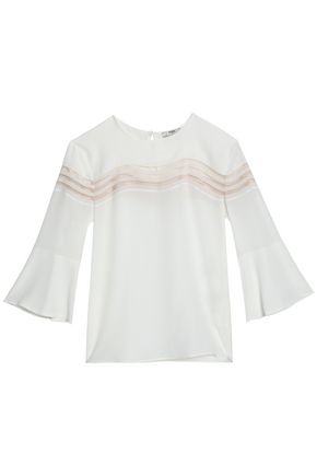 FENDI Tulle-trimmed silk crepe de chine top