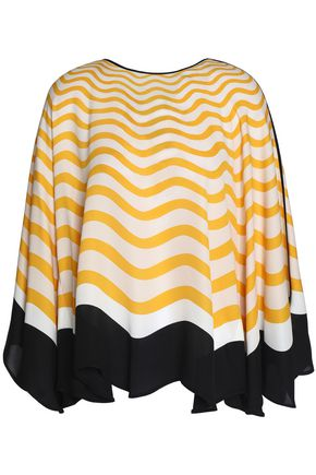 FENDI Bow-detailed printed silk crepe de chine top