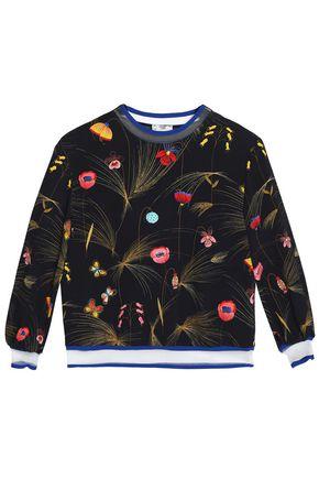 FENDI Mesh-trimmed printed jersey sweatshirt