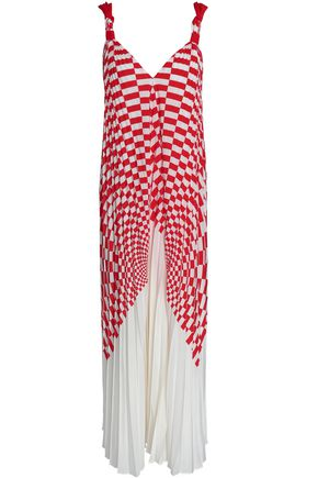 FENDI Pleated printed silk crepe de chine maxi dress