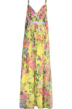 MATTHEW WILLIAMSON Pleated floral-print silk-chiffon gown