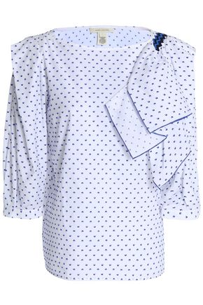 MARC JACOBS Ruffled fil coupé cotton -poplin blouse