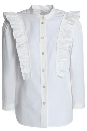 MARC JACOBS Ruffle-trimmed cotton-blend poplin shirt