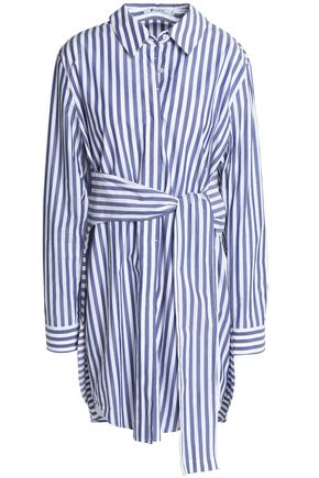 T by ALEXANDER WANG Tie-front striped cotton-poplin shirt dress