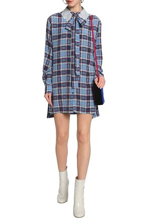 Best Buy Shopping Online Cheap Price Marc Jacobs Woman Pussy-bow Appliquéd Checked Silk Shirt Dress Light Blue Size 4 Marc Jacobs Low Price qkqZLns