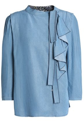 MARC JACOBS Ruffled Tencel-chambray blouse