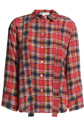MARC JACOBS Pussy-bow checked silk crepe de chine shirt