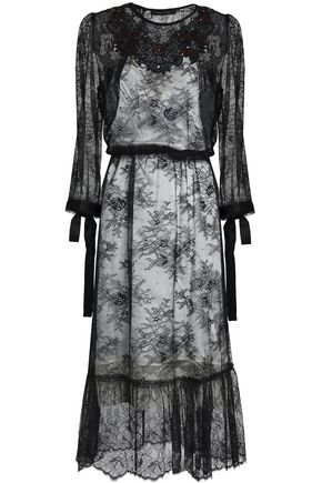 MARC JACOBS Sequin-embellished Chantilly lace midi dress