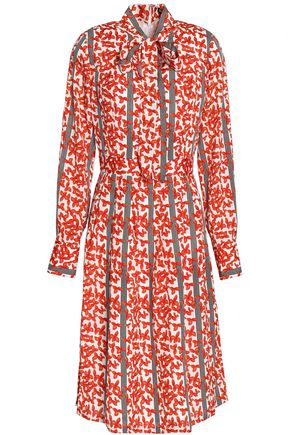 RAOUL Pussy-bow printed crepe dress