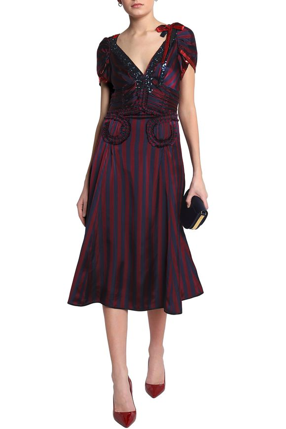 Cheap Online Fast Delivery Sale Online Marc Jacobs Woman Ruffle-trimmed Embellished Striped Satin Midi Dress Claret Size 2 Marc Jacobs Outlet Deals How Much Cheap Online RPMKi