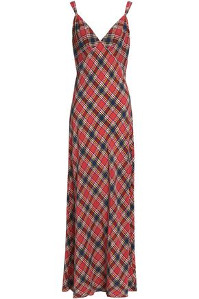 MARC JACOBS Checked silk crepe de chine slip dress