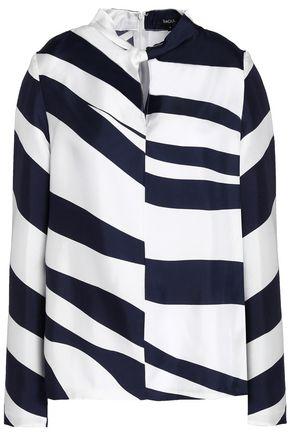 RAOUL Twisted zebra-print silk-twill blouse